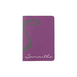 púrpura de moda elegante moderna simple elegante porta pasaporte