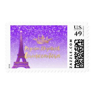 Púrpura de neón/oro/Eiffel/Quinceanera de Sello Postal