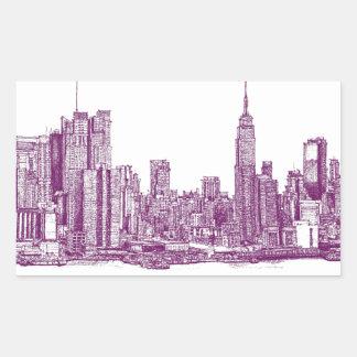 Púrpura de Nueva York Rectangular Pegatinas