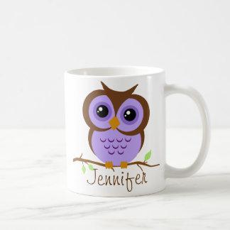 Púrpura de Owly personalizada Taza De Café