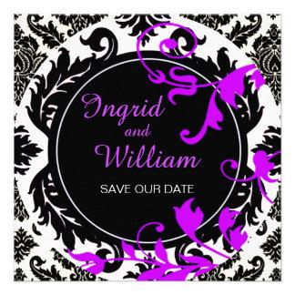Púrpura de Paisley el del damasco de Neopolitan Invitación Personalizada