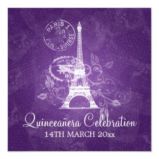 """Púrpura de París del fiesta de la celebración de Invitación 5.25"""" X 5.25"""""""