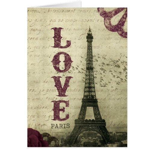 Púrpura de París el | del vintage Tarjeta De Felicitación