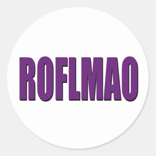 Púrpura de ROFLMAO Pegatina Redonda