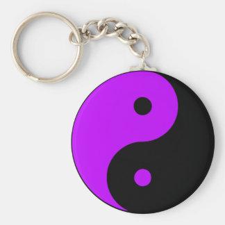 Púrpura de Taijitu del chino de la muestra del Tao Llavero Redondo Tipo Pin