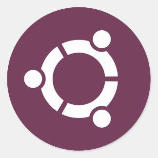 Púrpura de Ubuntu Pegatina Redonda