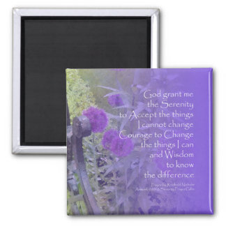 Púrpura del allium del rezo de la serenidad imán cuadrado