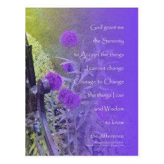 Púrpura del allium del rezo de la serenidad postal