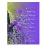 Púrpura del allium del rezo de la serenidad tarjetas postales