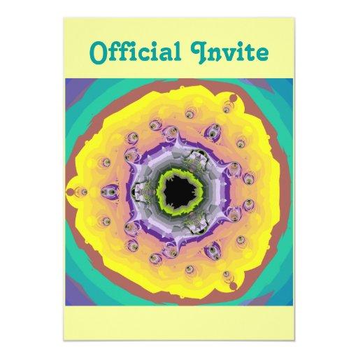 """Púrpura del amarillo del fractal del pavo real invitación 5"""" x 7"""""""