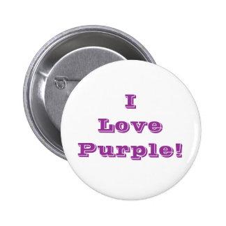 Púrpura del amor del botón I Pin Redondo De 2 Pulgadas
