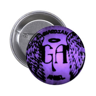 Púrpura del ángel de guarda en el botón negro pin