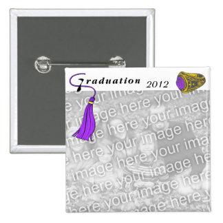 PÚRPURA del anillo de la clase de la graduación Pin Cuadrada 5 Cm