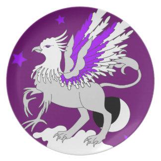 Púrpura del arte de Gryphon Plato De Comida