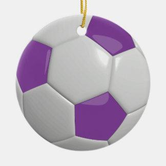 Púrpura del balón de fútbol el | adorno navideño redondo de cerámica