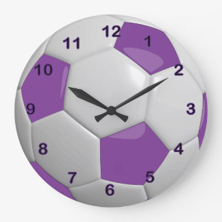 Púrpura del balón de fútbol el | reloj redondo grande
