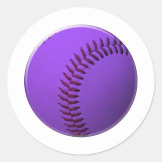 Púrpura del béisbol pegatina redonda
