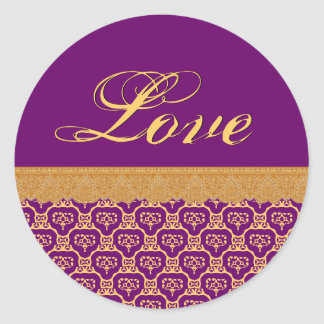 Púrpura del boda del AMOR y cordón V23 del oro Pegatina Redonda