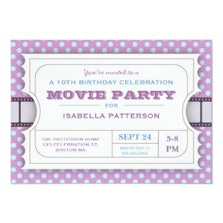 """Púrpura del boleto de la admisión de la fiesta de invitación 5"""" x 7"""""""