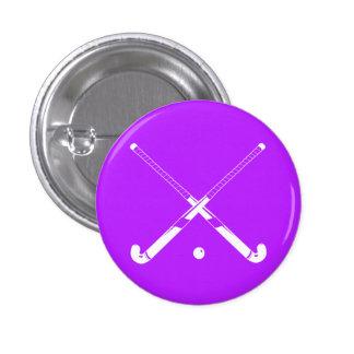 Púrpura del botón de la silueta del hockey hierba pin redondo de 1 pulgada