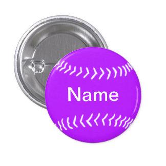 Púrpura del botón de la silueta del softball pin redondo de 1 pulgada