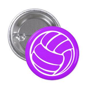 Púrpura del botón de la silueta del voleibol pin redondo de 1 pulgada