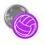 Púrpura del botón de la silueta del voleibol pins