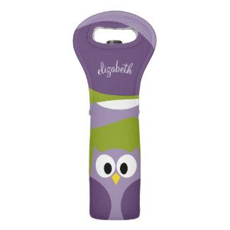 Púrpura del búho del dibujo animado y nombre bolsas para botella de vino