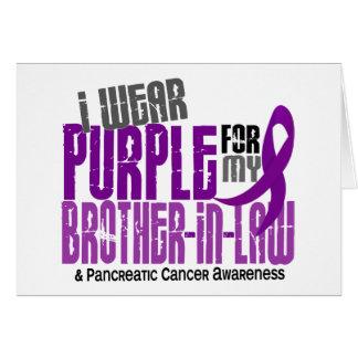 Púrpura del cáncer pancreático para mi cuñado 6,2 tarjeta de felicitación