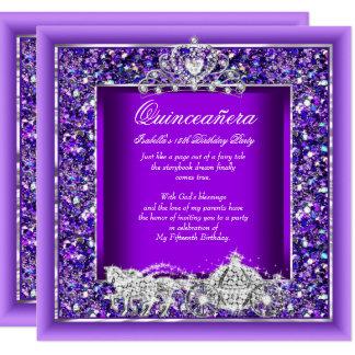 """Púrpura del carro del caballo del cumpleaños de invitación 5.25"""" x 5.25"""""""
