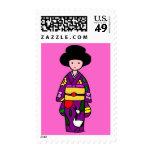 Púrpura del chica del kimono sello