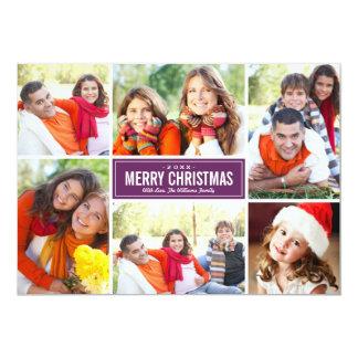 """Púrpura del ciruelo de las tarjetas de Navidad del Invitación 5"""" X 7"""""""