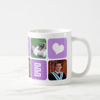 Púrpura del collage de la foto taza