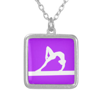 Púrpura del collar de la silueta del gimnasta