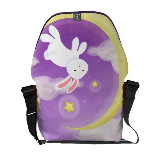 Púrpura del conejito de la luna bolsa de mensajería