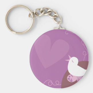Púrpura del corazón del amor del canto de Birding  Llavero Redondo Tipo Pin