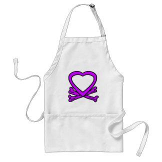 Púrpura del corazón y de los huesos los regalos de delantal