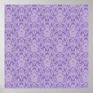 Púrpura del cordón del damasco póster