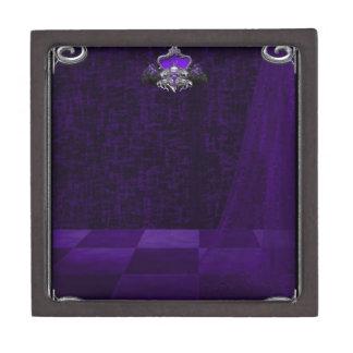 Púrpura del cordón del n del metal cajas de joyas de calidad
