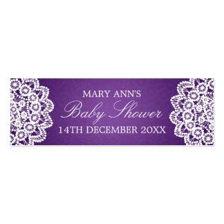 Púrpura del cordón del vintage de la etiqueta del tarjeta personal