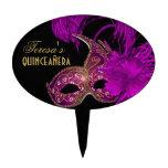 Púrpura del cumpleaños del quinceañera de la masca decoración para tarta