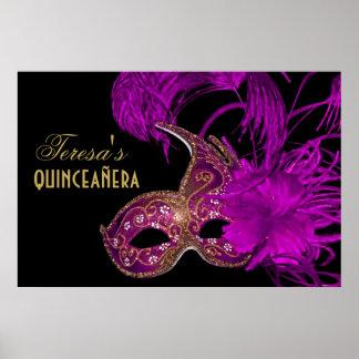 Púrpura del cumpleaños del quinceañera de la masca poster