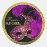 Púrpura del cumpleaños del quinceañera de la pegatina redonda