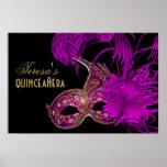Púrpura del cumpleaños del quinceañera de la póster