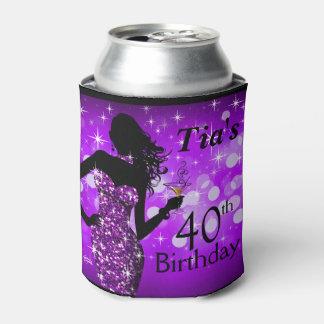Púrpura del cumpleaños el | de la chispa de Bling Enfriador De Latas