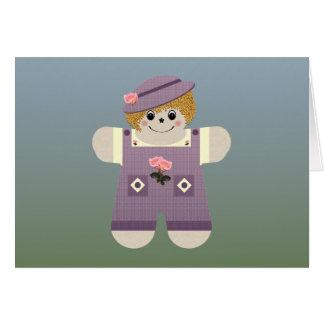 Púrpura del ~ de la muñeca del país tarjeta de felicitación
