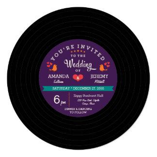 """Púrpura del disco de vinilo y el casarse retros invitación 5.25"""" x 5.25"""""""