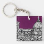 Púrpura del duomo de Florencia Llavero Cuadrado Acrílico A Doble Cara
