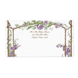 Púrpura del enrejado de Bois del vintage del estil Etiqueta De Envío