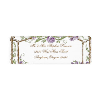 Púrpura del enrejado de Bois del vintage del estil Etiquetas De Remite